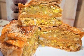 Лентяйский пирог из лаваша с курицей и грибами 1